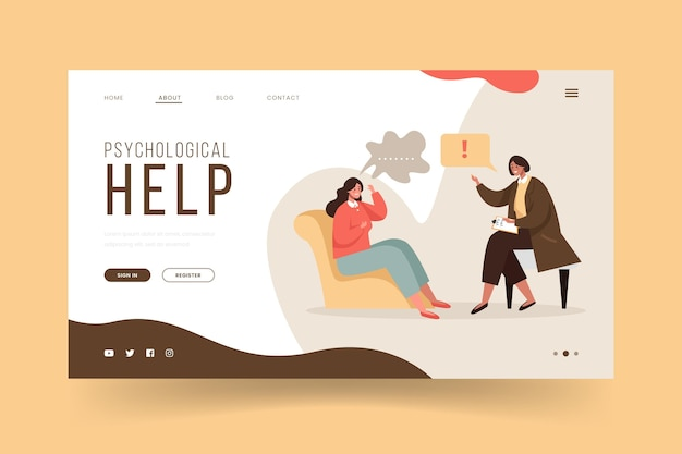 Psychological help landing page with patient and doctor
