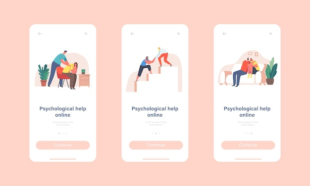 Psychological help online mobile app page onboard screen template. characters giving comfort and support to friends