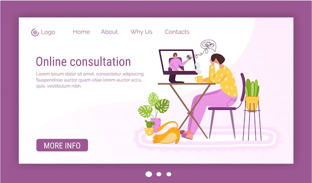 Psychological online services landing page template