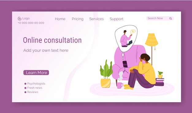 Шаблон целевой страницы психологических онлайн-сервисов