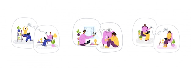 心理オンラインサービス。インターネットによる自宅での個人的な距離のサポートまたは支援。