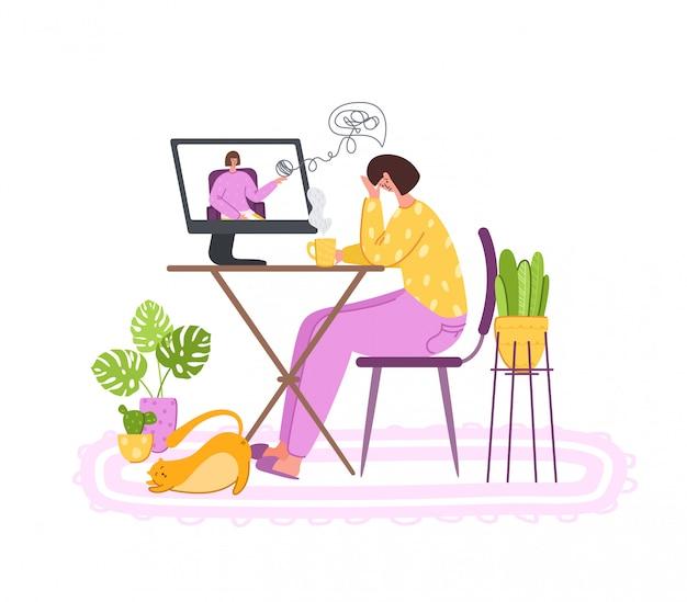 Психологический сервис онлайн - расстроенная девушка звонит психологу. заказчик на терапевта на индивидуальном сеансе веб-терапии