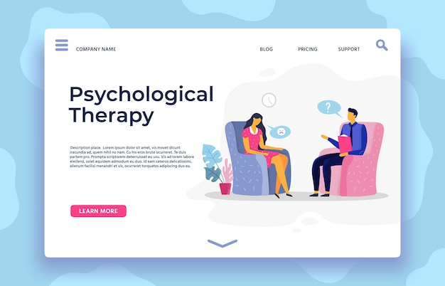 Psychological therapy landing page. therapy page landing, depression character and psychotherapist support, vector illustration