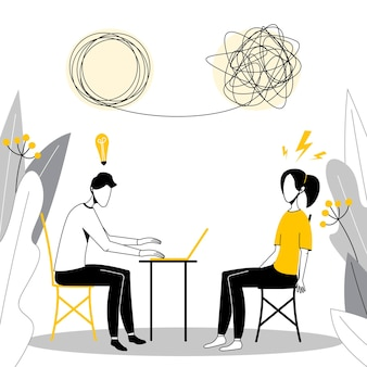 心理学者と治療セッション中の患者。ストレス依存症や精神的問題の治療