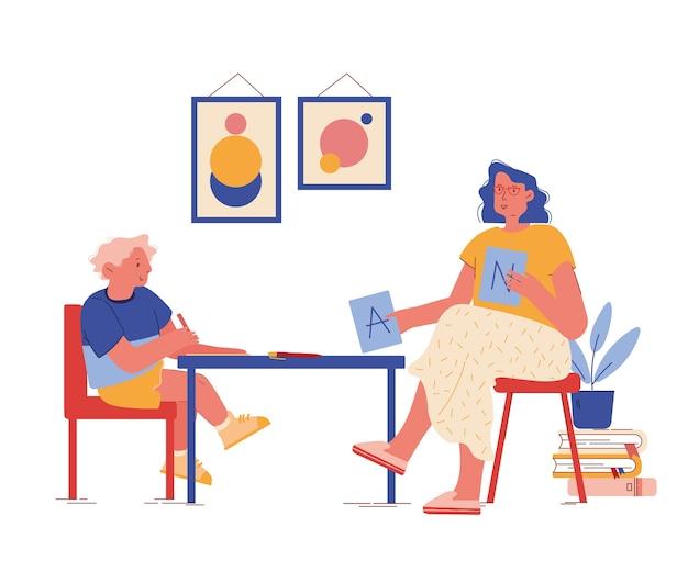 心理学者のキャラクターは、自閉症の子供との治療セッション中にabcカードを表示します。教育と学習のプロセス、患者とセラピストのコミュニケーション。漫画の人々
