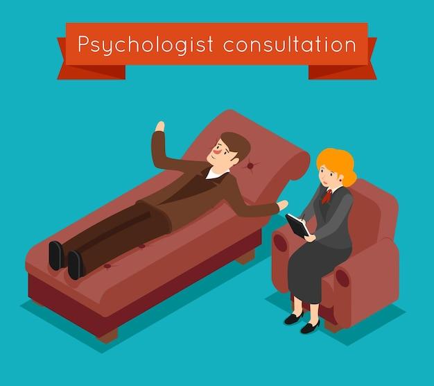 心理学者の相談。 3dアイソメトリックスタイルの精神的な問題の概念。