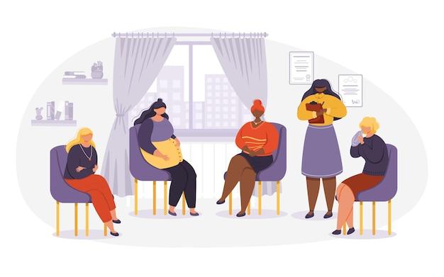 심리학자 상담 그룹 여성 환자. 여성 캐릭터는 원 안에 의자에 앉아 이야기합니다. 그룹 치료, 심리학자와 상담하는 사람들, 심리 치료사 세션에 있는 사람들.