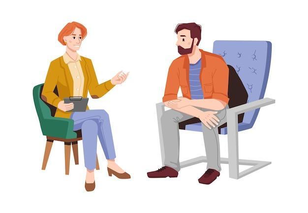 심리학자는 안락의 자 고립 된 평면 만화 사람들 벡터 여성에서 남자 환자에 게 조언을 제공합니다