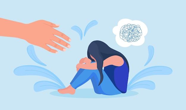 Рука психолога помогает грустной женщине избавиться от депрессии. несчастная девушка плачет, закрывая лицо, обнимает колени. одинокому человеку нужна поддержка, забота из-за горя, беспокойства, стресса. душевное здоровье