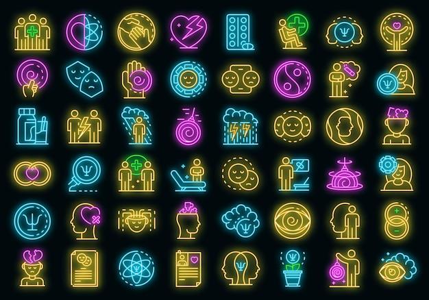 심리학자 아이콘을 설정합니다. 블랙에 심리학자 벡터 아이콘 네온 색상의 개요 세트