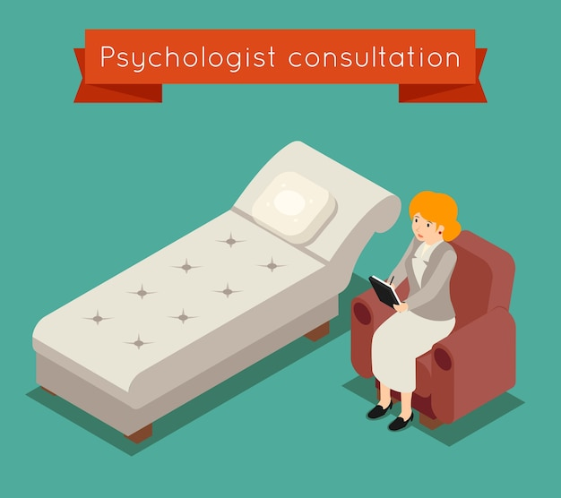 Психолог в офисе. векторная медицинская концепция в 3d изометрическом стиле. врач психолог, женщина-психолог, иллюстрация психотерапии медицины