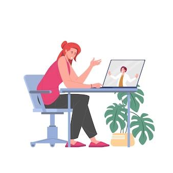 Психолог или психотерапевт, консультирующий пациента-женщину онлайн, плоская векторная иллюстрация.