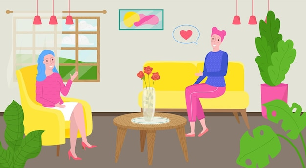 Psychologist talk with patient vector illustration psychotherapy for woman character doctor make psy...