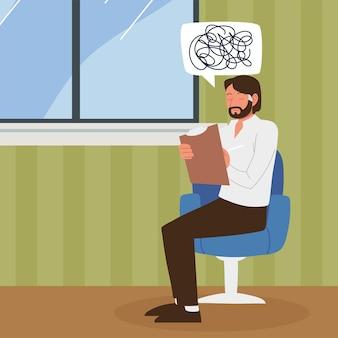 Психолог думает, сидя на стуле в клинике