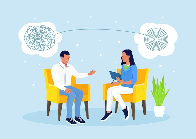Psychologist woman and man patient in psychology therapy session. treatment of stress, addictions and mental problems. psychotherapy practice, psychological help, psychiatrist consulting