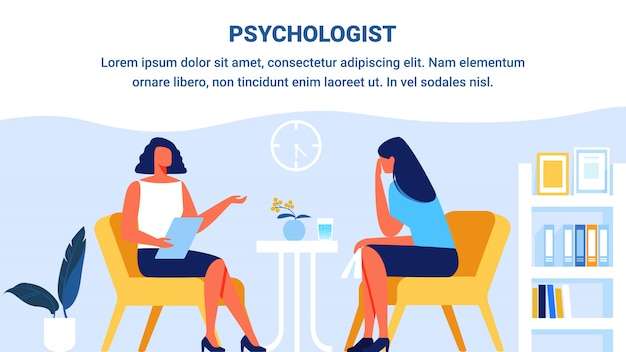 Psychologist and woman patient in office. vector.