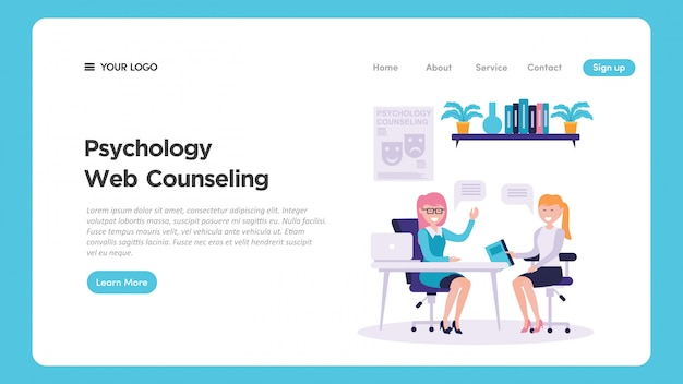Psychology clinic medical check up illustration for website page