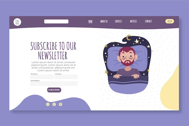 Psychology concept landing page template