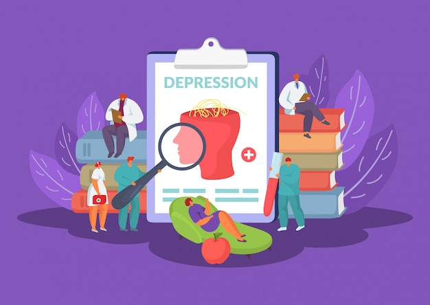 Psychology concept of mental and emotional problems in psychotherapy illustration.