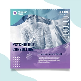 Psychology consulting square flyer template