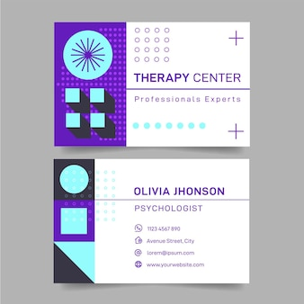 Psychology double-sided horizontal business card template