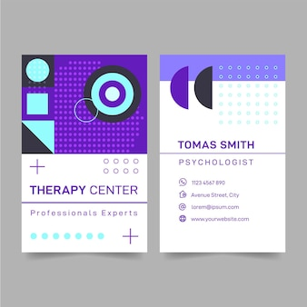 Psychology double-sided vertical business card template