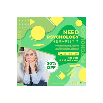 Psychology flyer square template