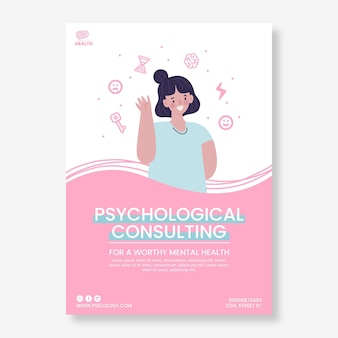 Psychology flyer template illustrated