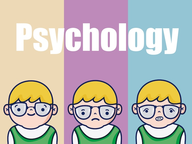 カラフルな背景の上に少年の漫画のための心理学ベクトル図のグラフィックデザイン