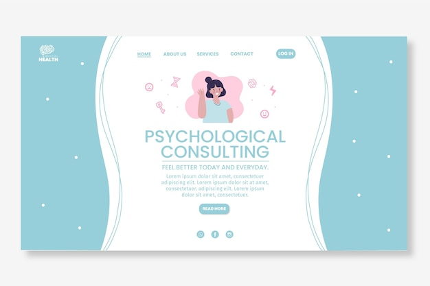 Psychology landing page template illustrated