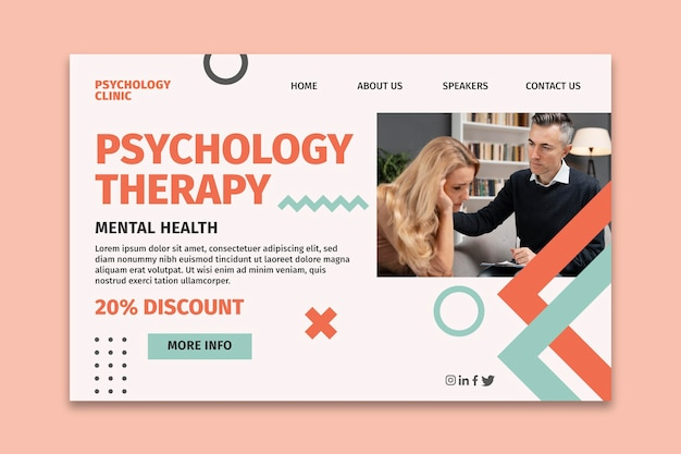 Modello di pagina di destinazione per psicologia