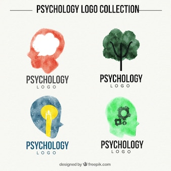 Psychology logo collection painted with watercolor
