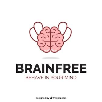 Psychology logo with decorative brain