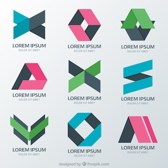 Psychology logos with different abstract figures