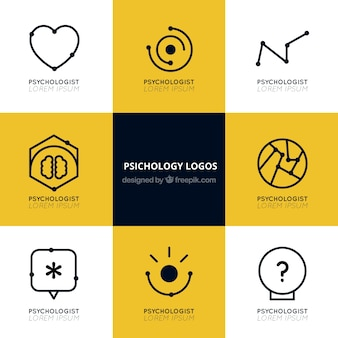 Psychology logos with flat designs