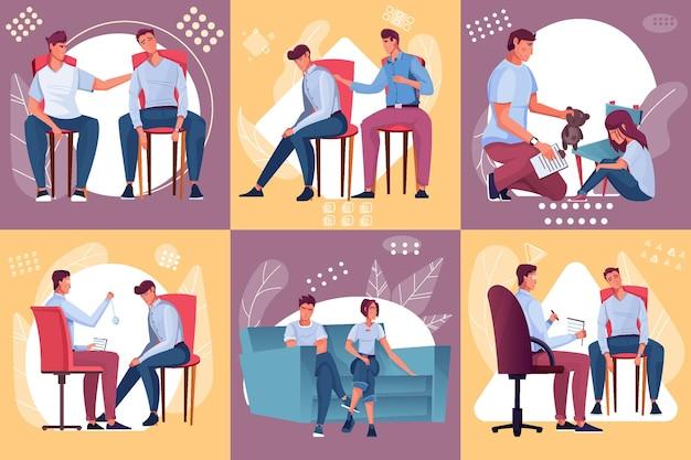 Psychology and mental problems set illustration