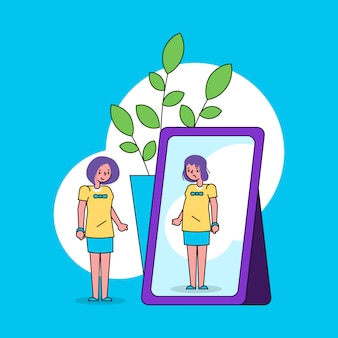 女の子との自己認識自我概念の心理学は鏡をのぞき、反射ラインアートイラストで醜い自分を見ます。
