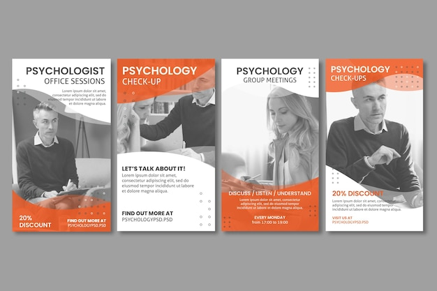 Modello di storie di instagram dell'ufficio di psicologia