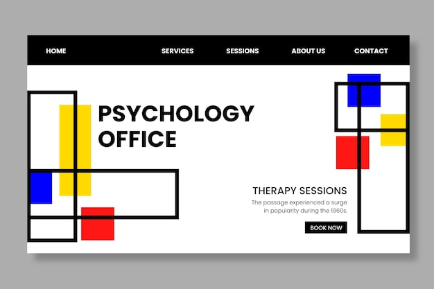 Psychology office landing page template