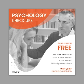 Psychology office square flyer template