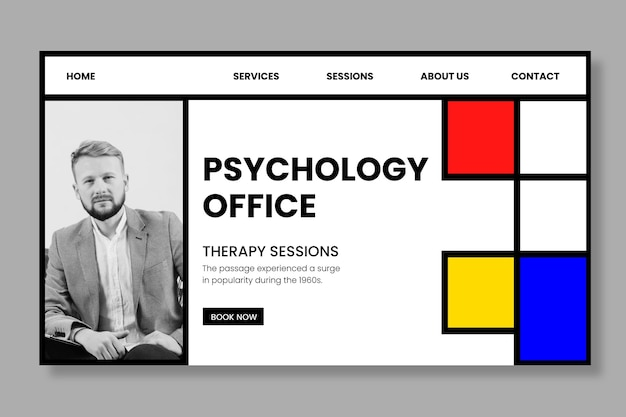Psychology office template landing page