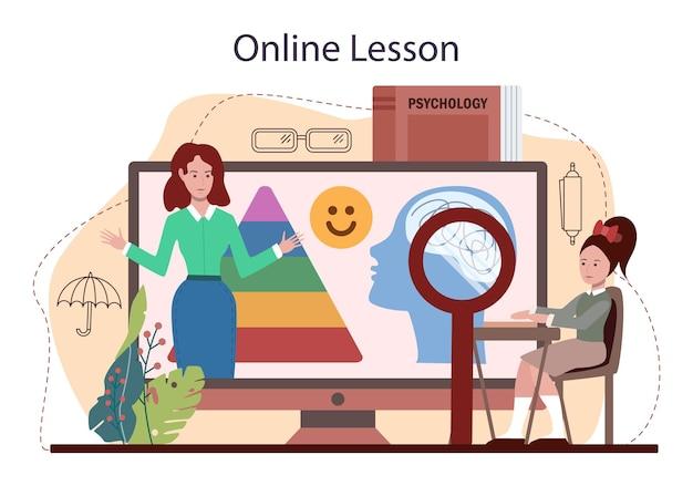 심리학 학교 과정 온라인 서비스 또는 플랫폼. 정신 및 정서적 건강 공부. 학교 심리학자 상담. 온라인 수업. 평면 벡터 일러스트 레이 션