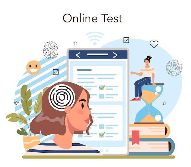 심리학 학교 과정 온라인 서비스 또는 플랫폼. 학교 심리학자 상담. 정신 및 정서적 건강 공부. 온라인 테스트. 평면 벡터 일러스트 레이 션