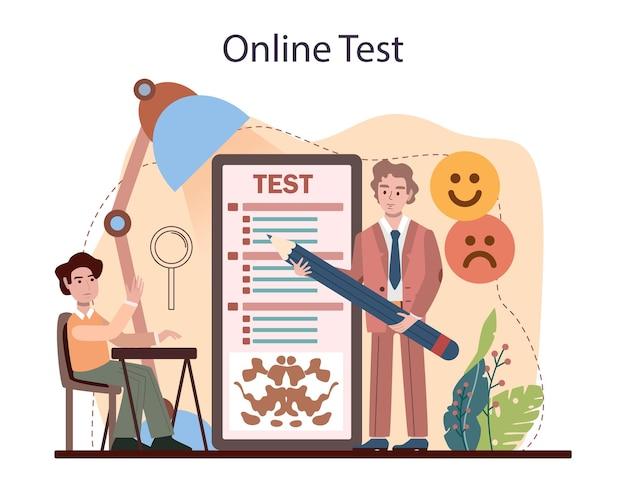 심리학 학교 과정 온라인 서비스 또는 플랫폼 학교 심리학자 프리미엄 벡터