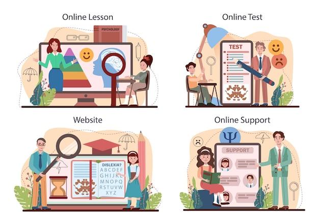 심리학 학교 과정 온라인 서비스 또는 플랫폼 세트. 정신 및 정서적 건강 공부. 학교 심리학자 상담. 온라인 수업, 테스트, 지원, 웹사이트. 평면 벡터 일러스트 레이 션