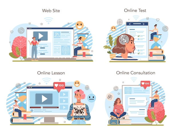 심리학 학교 과정 온라인 서비스 또는 플랫폼 세트. 학교 심리학자