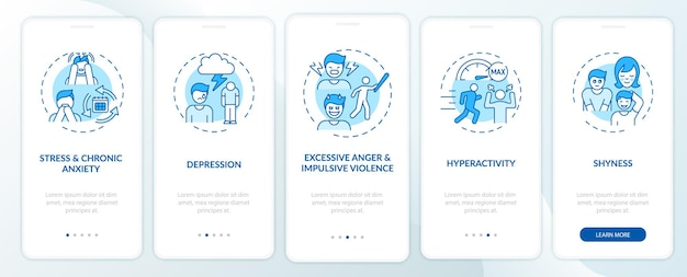 Psychology of selfcontrol blue onboarding mobile app page screen with concepts