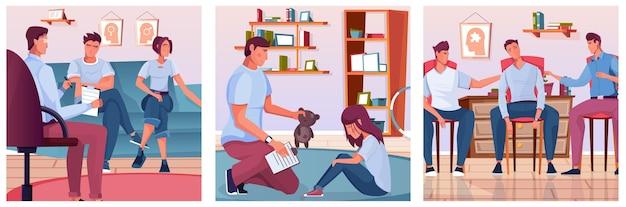 Psychology sessions set of square illustrations