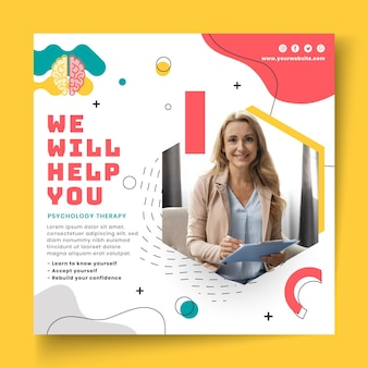 Psychology squared flyer template