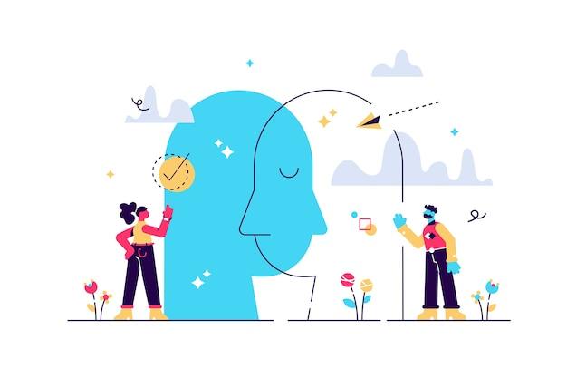 Психологическое исследование психических эмоций и чувств человека Premium векторы